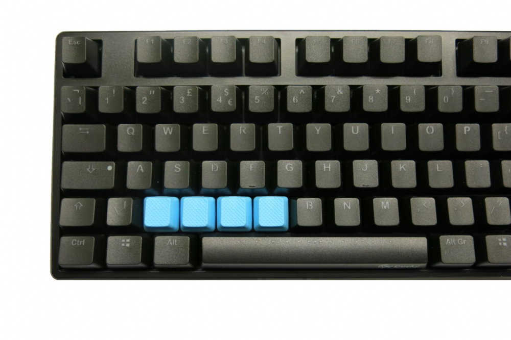 Tai-Hao TPR Rubber Backlit Double Shot Blank Keys x 4 Neon Blue